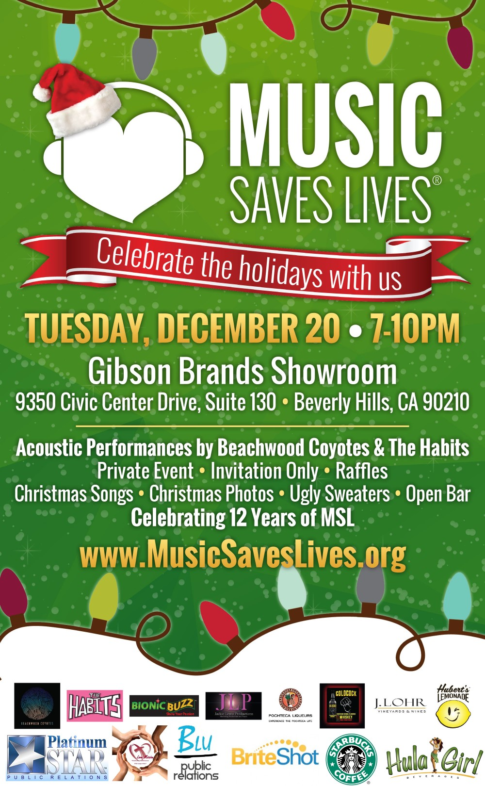 music saves lives christmas party at gibsons brands showroom beverly hills - Christmas Party Songs